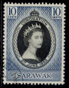 SARAWAK QEII SG187, 10c 1953 CORONATION, FINE USED.