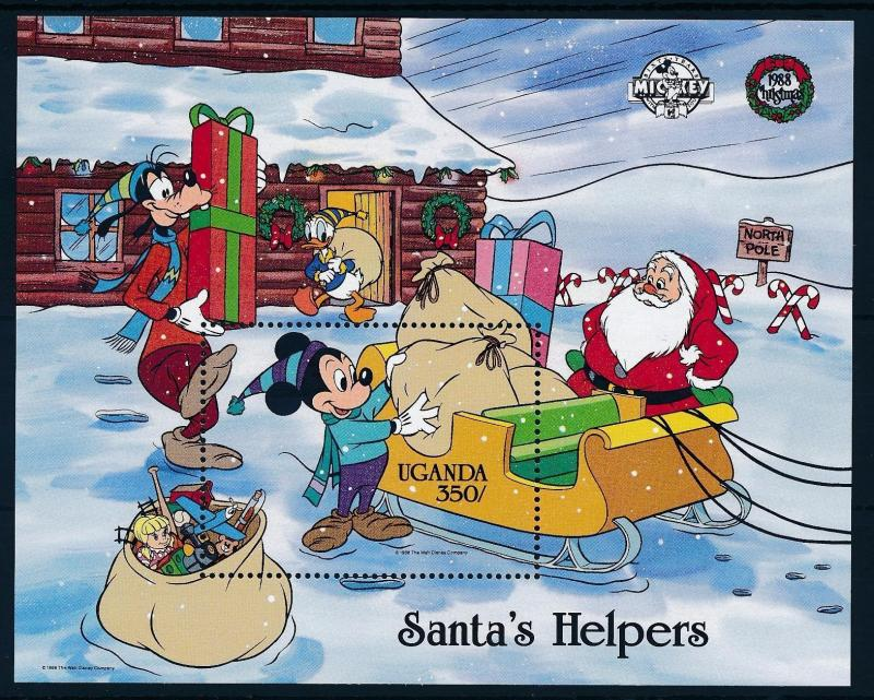 [62774] Uganda 1988 Disney Mickey Friends - Christmas Santa's Helpers Sheet MNH