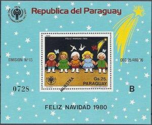 1980 Paraguay Christmas, Butterflies, Souvenirsheet Muestra VF/MNH CAT 25+$