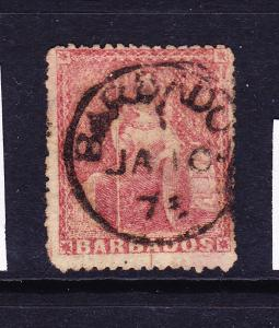 BARBADOS  1873  4d  DULL ROSE RED   FU   SG 59