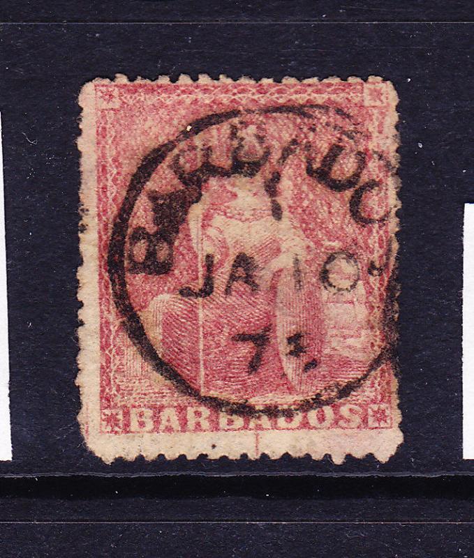 BARBADOS  1873  4d  DULL ROSE RED   FU   SG 59