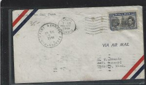NIGERIA  (P2808BB) 1941  KGVI 2/6 FIRST A/M LAGOS TO SAN JUAN PUERTO RICO, B/S