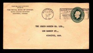 Canada 1927 RBC Montreal Corner Card Cover - L12217