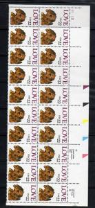 2202 Plate Block of 20 M NH  Love Issue