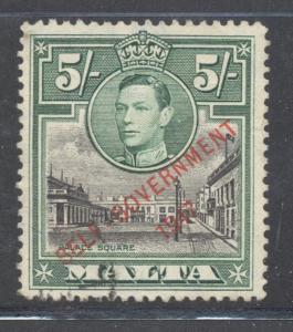 Malta Sc 221 1948 5/ GV & Palace Sq ovptd stamp used