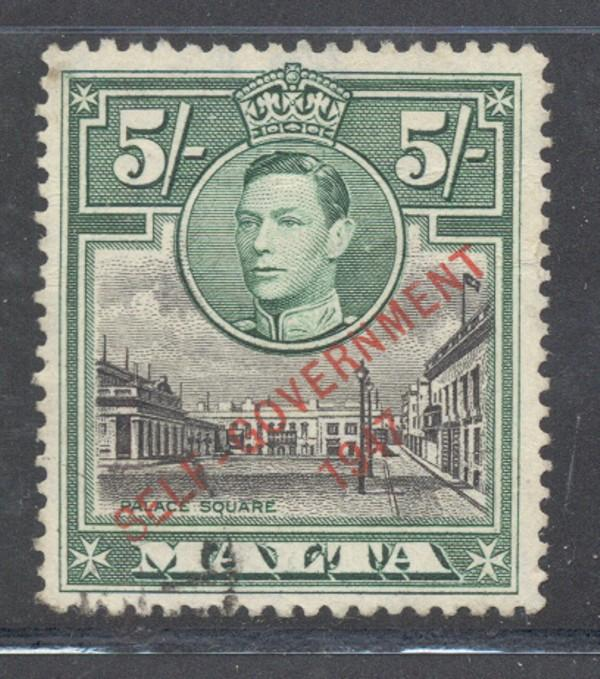 Malta Sc 221 1948 5/ GV & Palace Sq ovptd stamp used