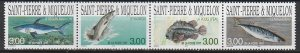 1997 St. Pierre and Miquelon - Sc 639 - MNH VF - 1 strip of 4 - fish