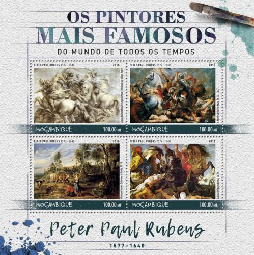 MOZAMBIQUE - 2016 - Painters. Peter Paul Rubens - Perf 4v Sheet - MNH