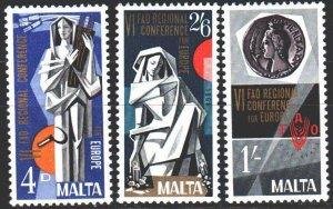 Malta. 1968. 383-85. FAO conference, sculpture. MNH.