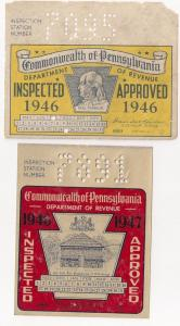 PENNSYLVANIA AUTO WINDSHIELD STICKERS: 1946 -47 Mint +bonus