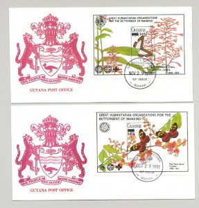 Guyana 1991 Butterflies 4v Imperf S/S Black o/p Lions Club, Rotary on 4 FDC