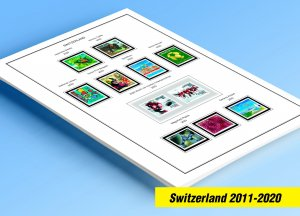 COLOR PRINTED SWITZERLAND 2011-2020 STAMP ALBUM PAGES (63 illustrated pages)