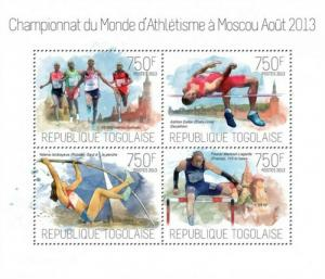 Togo - 2013 World Championships in Athletics - 4 Stamp Sheet - 20H-762