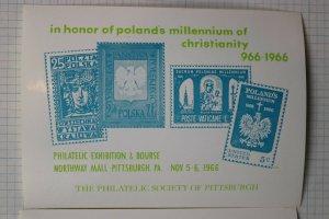 Poland Millennium Christianity 1966 Pittsburgh Stamp Expo Philatelic Ad Souvenir