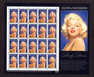 US 2967,  Pane of 20, VF, MNH, Marilyn Monroe, CV $24.00 ..... 6786005