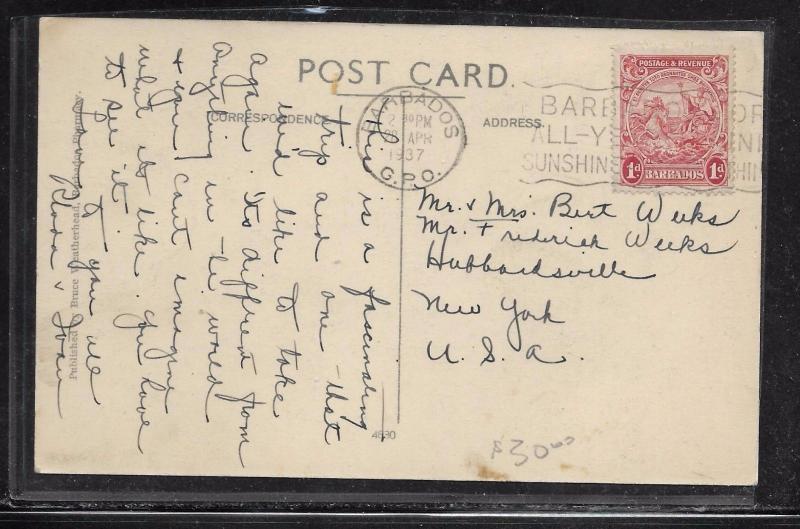 BARBADOS (P2201B) 1937 1D SEAHORSE ON PPC TO USA