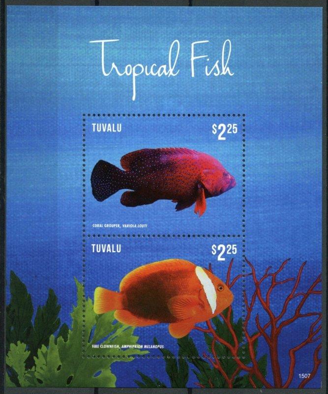 Tuvalu Tropical Fish Stamps 2015 MNH Fishes Grouper Clownfish Marine 2v S/S I