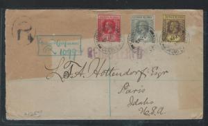CAYMAN ISLANDS (P2109B) 1916 KGV 1D+2D+3D REG VIA JAMAICA TO USA