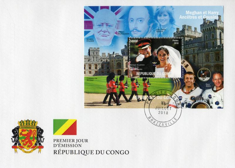 Congo 2018 Royal Weeding Harry-Meghan/Churchill/Diana/Space Apollo 11 SS FDC.