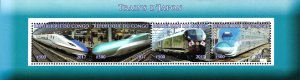 Congo 2017 Japan Bullet Trains Transports 4v Mint Souvenir Sheet S/S. (#22)