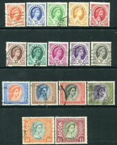 RHODESIA & NYASALAND-1954-56 Set to £1 Sg 1-15 FINE USED V30063