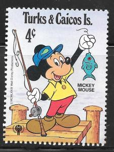 Turks and Caicos 404: 4c Mickey Mouse and fish, MH, VF