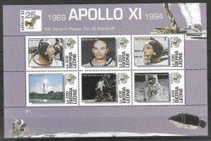 1989    SIERRA LEONE  -  SG.  2143 / 2148  -  APOLLO  XI   -   SHEETLET  -  MNH