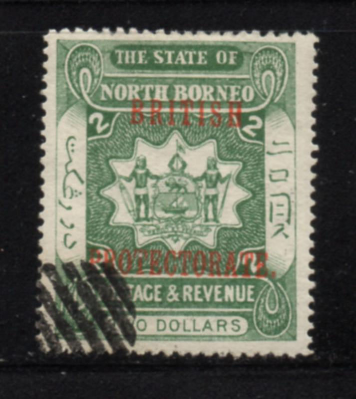North Borneo Sc 119 1901 $2 Brtish Protectorate overprint stamp used