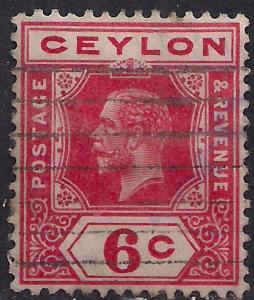 Ceylon 1912 - 25 KGV 6ct Carmine SG 306 Die 2 ( G1042 )