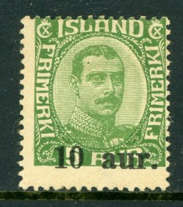 Iceland 1922 Overprint 10a on 5a Green Scott # 139 Mint D423