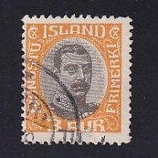 Iceland    #O40   used   1920  Christian X   3a   centre in grey-black