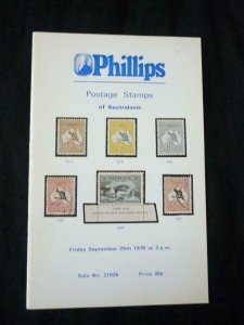 PHILLIPS AUCTION CATALOGUE 1978 POSTAGE STAMPS OF AUSTRALASIA