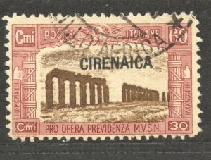 Cirenaica 1927 semi-postal, 60 C. VF ++ used, Scott # B 14