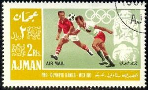 Soccer, 1968 Summer Olympics, Mexico, Ajman stamp used