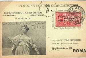 ITALY Cover Turin Rome FLIGHT Experimental Air Mail 1917{samwells-covers} SP3