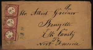 Germany 1874 3x1Gr Lg Eagle Brustschild Mi19 Cover USA Benezette Pennsylv 105274