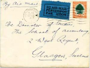 South Africa 6d Orange Tree 1935 Johannesburg Airmail to Glasgow, Scotland.