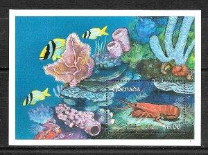 #8327 GRENADA 1990 FAUNA FISHES MARINE LIFE S/SHEET YV BL 245 MNH