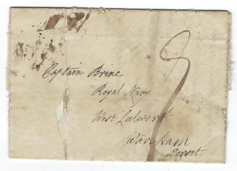 1812 Great Britain Cover To Captain Brine, Royal Navy - Personal Letter (CA23)