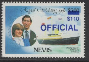 NEVIS SGO27g 1983 $1.10 ON $5 ROYAL WEDDING DEEP ULTRAMARINE SURCHARGE MNH
