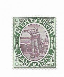 St. Kitts & Nevis #1 MH - Stamp - CAT VALUE $2.00