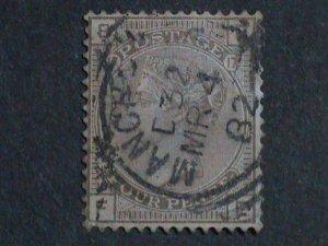 GRATE BRITAIN -1876 SC#71 -4P-QUEEN VICTORIA USED STAMP.CAT. $500