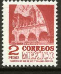 MEXICO 1096, $2P 1950 Defin 9th Issue Unwmkd Fosfo Glazed. MINT, NH. F-VF.