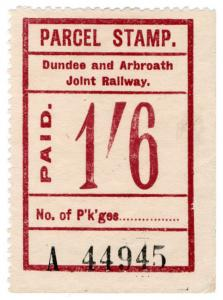 (I.B) Dundee & Arbroath Joint Railway : Parcel Stamp 1/6d