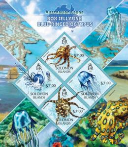 SOLOMON ISLANDS 2013 SHEET BOX JELLYFISHES BLUE RINGED OCTOPUS slm13423a
