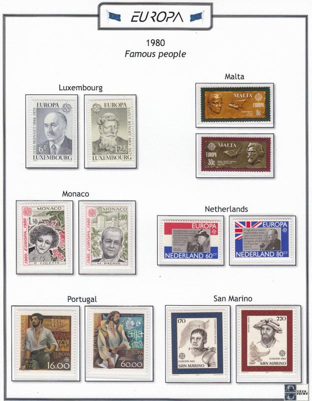 Europa, 1980 Year plus sheets