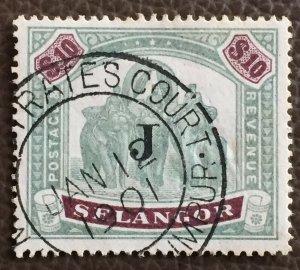 MALAYA 1901 SELANGOR Elephants JUDICIARY J opt $10 Used M3117
