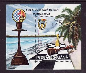 Romania-Sc#3748-unused NH sheet-Chess Olympiad Manila-1992-