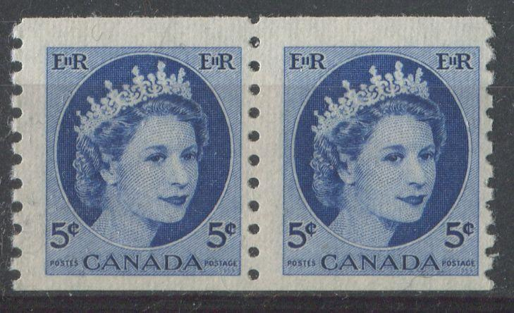Canada #348 5c Dp. Ultra 1954 Wilding Issue Coil Pair LF White Rib F-70 NH