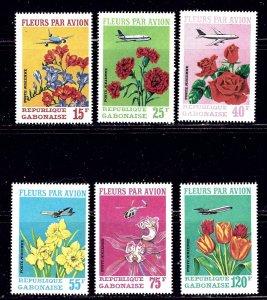 Gabon C109-11 MNH 1971 Flowers and Planes 6 values    (ap2034)